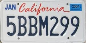 California state license plate