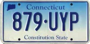 Connecticut state license plate