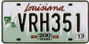 Louisiana state license plate