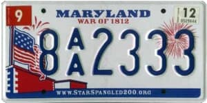 Maryland state license plate