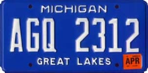 Michigan state license plate