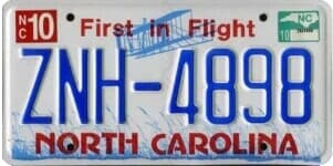 North Carolina state license plate